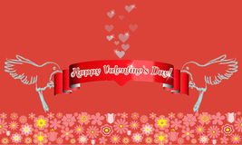 Valentines Day card design. Two birds, red ribbon, flying hearts Royalty Free Stock Images