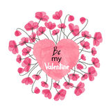 Valentines Day card design with watercolor heart and delicate flowers. Stock Photo
