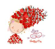 Valentines day card. Doodle flowers beautiful girl Stock Photography