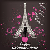 Valentines day card with Eiffel tower and hearts Royalty Free Stock Photo