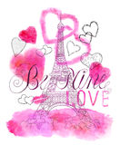 Valentines Day card with the Eiffel Tower and hearts Royalty Free Stock Images
