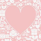 Valentines Day card with empty space in the form of heart on the background of the icons. Stock Photos