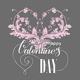 Valentines day  card with floral elements Royalty Free Stock Photography