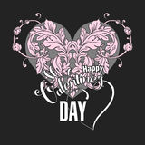Valentines day  card with floral elements Royalty Free Stock Photo