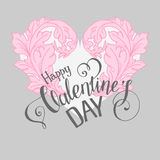 Valentines day  card with floral elements Royalty Free Stock Image