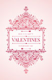 Valentines day card with flourishes ornament. Happy valentines day card with flourishes ornament vector illustration