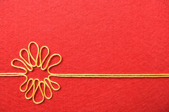 Valentines day card - flower made from wire on red background Royalty Free Stock Photo