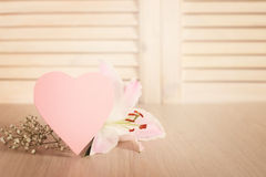 Valentines day card and flowers Royalty Free Stock Photography