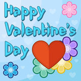 Valentines day card with flowers and hearts. Happy Valentines day card with flowers and hearts on the blue background Royalty Free Stock Photos
