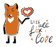 Valentines Day card with fox, heart and text Stock Photos