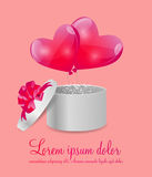 Valentines Day Card with Gift Box and Heart Shaped Royalty Free Stock Photos