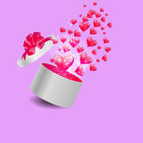 Valentines Day Card with Gift Box and Heart Shaped Royalty Free Stock Photography