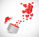 Valentines Day Card with Gift Box and Heart Shaped Stock Images