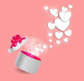 Valentines Day Card with Gift Box and Heart Shaped. Balloons, Vector Illustration Royalty Free Stock Images