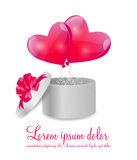 Valentines Day Card with Gift Box and Heart Shaped. Balloons, Vector Illustration Stock Photo