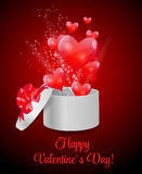 Valentines Day Card with Gift Box and Heart Shaped Royalty Free Stock Image