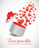 Valentines Day Card with Gift Box and Heart Shaped. Balloons, Vector Illustration Stock Images
