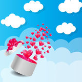 Valentines Day Card with Gift Box and Heart Shaped Royalty Free Stock Images