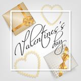 Valentines Day card with gifts. Valentines Day banner with white square frame, black hand lettering calligraphy text abstract golden sparkles hearts and gifts Stock Images