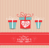 Valentines day card with gifts Stock Images