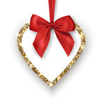 Valentines Day Card. Glittering Golden heart with red bow, place for texton a white background. Vector Royalty Free Stock Photography