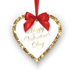 Valentines Day Card. Glittering Golden heart with red bow, place for texton a white background. Vector Royalty Free Stock Photo