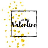Valentines day card with gold glitter hearts. February 14th. Vector confetti for valentines day card template. Grunge. Hand drawn texture. Love theme for flyer Stock Photo