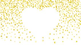 Valentines day card with gold glitter hearts. February 14th. Vector confetti for valentines day card template. Grunge. Hand drawn texture. Love theme for gift Royalty Free Stock Photography
