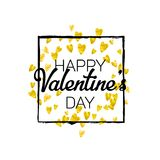 Valentines day card with gold glitter hearts. February 14th. Vector confetti for valentines day card template. Grunge. Hand drawn texture. Love theme for gift Stock Photography