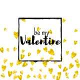 Valentines day card with gold glitter hearts. February 14th. Vector confetti for valentines day card template. Grunge. Hand drawn texture. Love theme for party Royalty Free Stock Photos