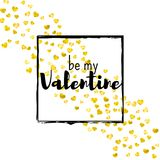 Valentines day card with gold glitter hearts. February 14th. Vector confetti for valentines day card template. Grunge. Hand drawn texture. Love theme for party Royalty Free Stock Photo