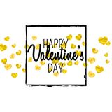 Valentines day card with gold glitter hearts. February 14th. Vector confetti for valentines day card template. Grunge. Hand drawn texture. Love theme for poster Royalty Free Stock Photos