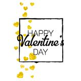 Valentines day card with gold glitter hearts. February 14th. Vector confetti for valentines day card template. Grunge. Hand drawn texture. Love theme for Royalty Free Stock Images