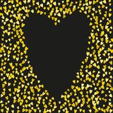 Valentines day card with gold glitter hearts. February 14th. Vector confetti for valentines day card template. Grunge. Hand drawn texture. Love theme for gift Royalty Free Stock Images