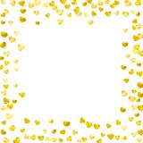Valentines day card with gold glitter hearts. February 14th. Vector confetti for valentines day card template. Grunge. Hand drawn texture. Love theme for gift Royalty Free Stock Photos