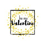 Valentines day card with gold glitter hearts. February 14th. Vector confetti for valentines day card template. Grunge. Hand drawn texture. Love theme for gift Royalty Free Stock Photo