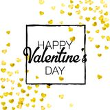 Valentines day card with gold glitter hearts. February 14th. Vector confetti for valentines day card template. Grunge. Hand drawn texture. Love theme for Stock Photography