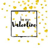 Valentines day card with gold glitter hearts. February 14th. Vector confetti for valentines day card template. Grunge. Hand drawn texture. Love theme for poster Stock Photo