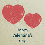 Valentines Day Card with grunge Heart on carton Ba Royalty Free Stock Photo