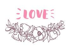 Valentines Day card with hand drawn botanical flower branch illu Stock Photos