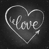 Valentines Day card. Hand drawn chalk lettering love in heart on chalkboard.  Valentines Day card. Vector illustration. Design by flyer, banner, poster Royalty Free Stock Photos