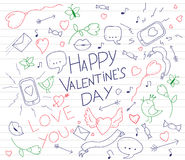 Valentines day card with hand drawn doodles. Lips, birds, phone, mail, heart, arrows and ribbons. Vector illustration. Royalty Free Stock Photo