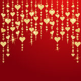 Valentines day card with hanging golden hearts Royalty Free Stock Image