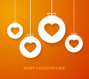 Valentines day card with hanging hearts. Stock Image