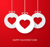 Valentines day card with hanging hearts. Stock Photos