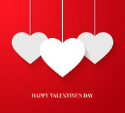 Valentines day card with hanging hearts. Royalty Free Stock Images