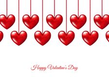 Valentines day  card with  hanging  realistic 3d  red  hearts. Valentines day  background with  hanging  realistic 3d  red  hearts. Vector template Stock Photos