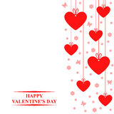 Valentines day card with hanging red hearts labels Royalty Free Stock Image