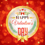 Valentines day card. Happy Valentines day Card with red romantic bokeh background, bow and branches. vector illustration Royalty Free Stock Photo