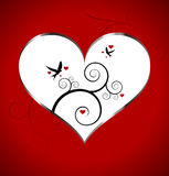 Valentines Day card with heart and birds Royalty Free Stock Photos